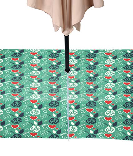 (Fabric Textile Products Craft Paper Roses and Hearts Milliken Waterproof with Zipper & Umbrella Hole 60