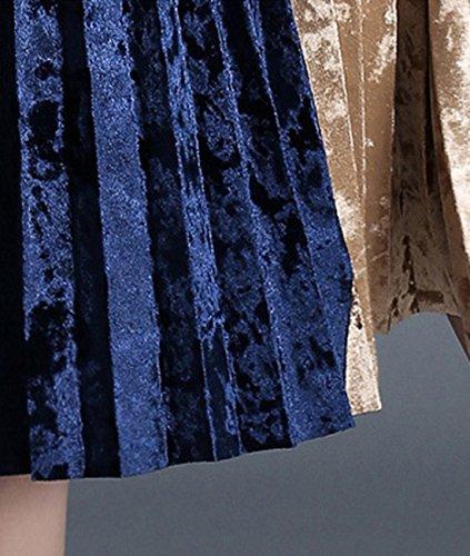 Femmes D¨¦contract¨¦e Tutleneck Longue Manche Patchwork Velours Une Ligne Mini Robes
