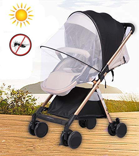 (Sun Shade Stroller Car Seat Sunshade Bassinet Playpen Crib Stroller Net-Nice Visiblity and Air Permeability Design (Black + Sunshade) )