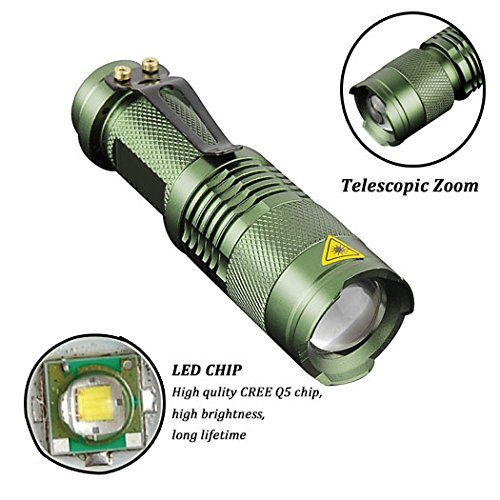 Pack of 5,Pocketman 7W 300LM SK-68 3 Modes Mini Q5 LED Flashlight Torch Tactical Lamp Adjustable Focus Zoomable Light by POCKETMAN (Image #4)