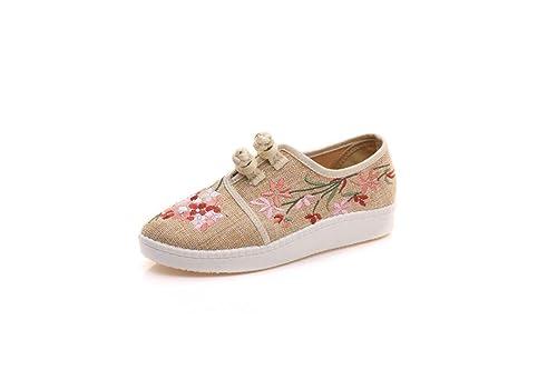 Bordado Zapatos/Alpargatas/ Merceditas/Zapatos de Mujer, niñas Dulces, Zapatos de Fondo Blandos Ocasionales Bordados en Lino, Amarillo, 39: Amazon.es: ...
