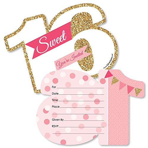 Sweet 16 - 16th Birthday - Shaped Fill-in Invitations - 16th Birthday Party Invitation Cards with Envelopes - Set of 12 ()
