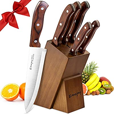 Cuchillos Cocina, Juegos de Cuchillos de Acero Inoxidable 6 piezas, Cuchillos de Cocina Profesional, Bloque de Madera por Emojoy