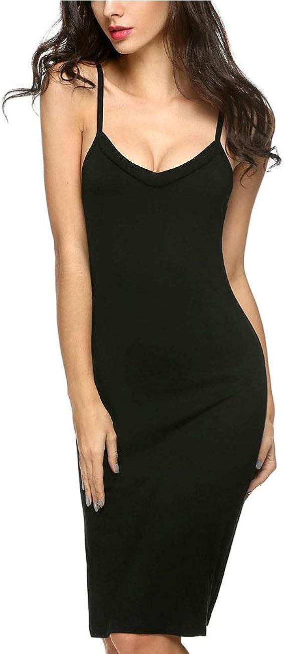 LONSUN - Fondo de Vestido de Mujer de algodón clásico bajo Vestido ...