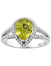 14K Gold Natural Lemon Quartz Ring Pear Shape 9x7 mm Diamond Accents, sizes 5 - 10