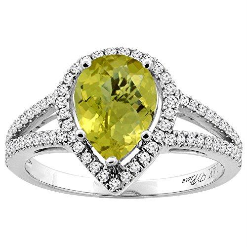 (14K White Gold Natural Lemon Quartz Ring Pear Shape 9x7 mm Diamond Accents, size 10)