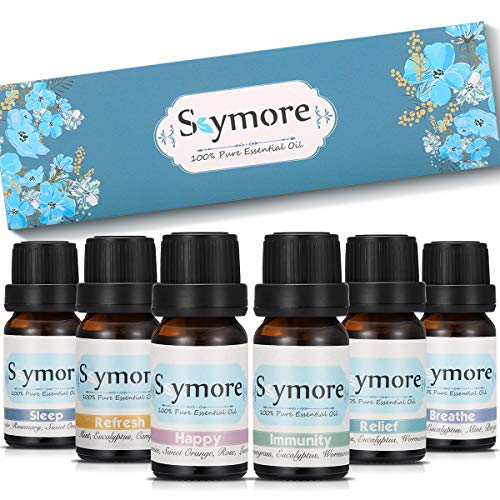 SKYMORE Essential Oil Blend Set/Kit, 100% Natural & Pure, Therapeutic Grade Essential Oils, Best Top 6 Aromatherapy Oils for Diffuser (Sleep, Breathe, Relief, Refresh, Immunity, Happy)