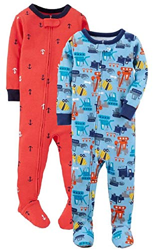 Carter's Baby Boys' 2-Pack Cotton Footed Pajamas (Multi Print, 18 Months)