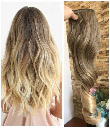 DevaLook 20 Inches Half Head One Piece Long Wavy Curly Clip in Hair Extensions Ombre 2 Tones DL (Light ash brown to sandy blonde)