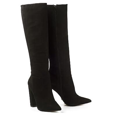 8792ce6a6241 Buffalo Damen Stiefel High Heel Boots Leder Schwarz Blockabsatz Nubuck  ZS6214-16  Amazon.de  Schuhe   Handtaschen
