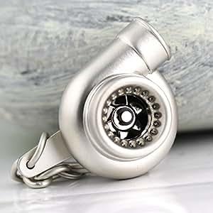 Muchkey - Llavero creativo con diseño de turbina de coche, para los fans del automovilismo (plata mate)