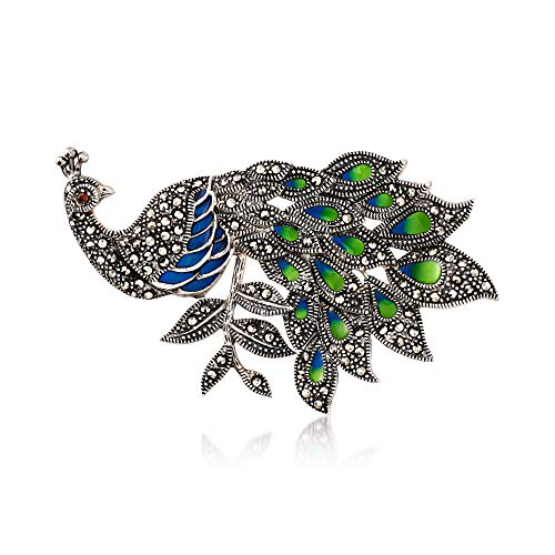 Ross-Simons Blue and Green Enamel and Marcasite Peacock Pin With Garnet Accent in Sterling Silver