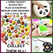 HOLIDAY-DEAL Squishies Set-20 Pack Of Slow Rising Jumbo, Medium and Mini Soft Squishy Panda, Cake, Buns and Donut Toys. Includes Keychain Straps. Best Cream Scented Gift Package For Boys and Girls