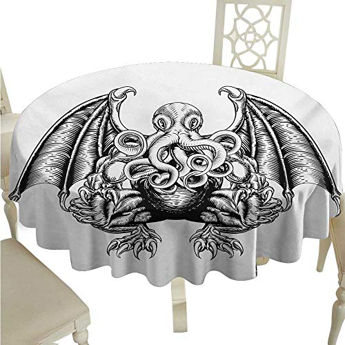 longbuyer Round Tablecloth Vinyl Fitted Kraken,Cthulhu Monster Evil Fictional Cosmic Monster in Woodblock Style Illustration Print,Black White D36,for Baby Shower