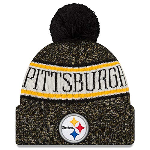 New Era Knit Pittsburgh Steelers Biggest Fan Redux Sport Knit Winter Stocking Beanie Pom Hat Cap NFL