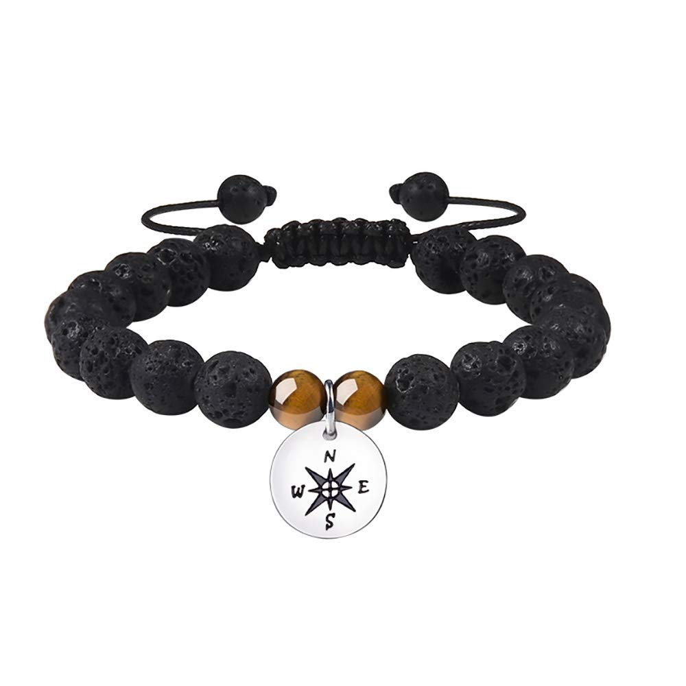 MANVEN Compass Friendship Bracelet Best Friend Graduation Gift Long Distance Relationship Inspirational Wish Bracelet for Women Men Teenagers