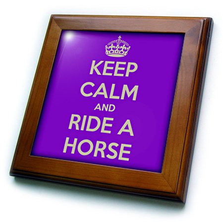3dRose Keep Calm and Ride A Horse, Purple and White-Framed Tile, 8 by 8