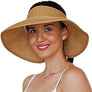 GearTOP Sombrero de visera para sol, viseras de paja para mujer, plegables, enrollables y de ala ancha