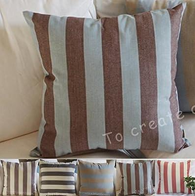 "8"" x 8"""",""Brown, Blue) - TangDepot Decorative Handmade Striped"