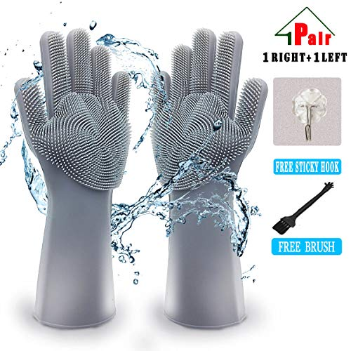 Magic Silicone Dishwashing Gloves, Scrubber Cleaning Gloves for Kitchen,Bathroom,Household,Pet Hair Care,Car Washing, Latex Free Hook (Grey, 1 ()