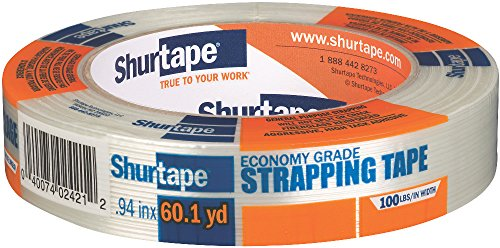 Shurtape GS 490 Economy Grade, Light Duty Fiberglass Reinforced Strapping Tape, 55m Length x 24mm Width per Roll, Clear, 1 Roll (104477)