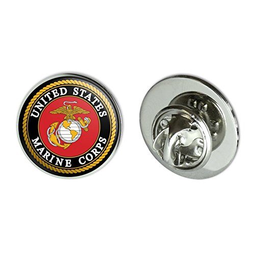 Red Hat Jewelry Pins (GRAPHICS & MORE Marines USMC Emblem Black Yellow Red Officially Licensed Metal 0.75