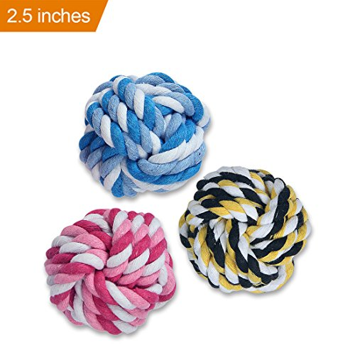 50g Balls (MAOMAO Dog Rope Toy Durable Chew Knot Ball for Aggressive Puppy Pets(Pack of 3)-2)