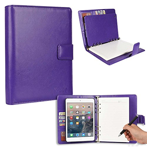 Cooper FolderTab [Padfolio Tablet Case with Notepad] for iPad Mini 3, iPad Mini 2, iPad Mini 1 | Executive Organizer Notebook Card Pockets (Purple)