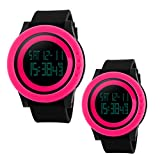 Unique Cool Outdoor Sport Digital Couple Watch Red Black Soft Band Led Alarm(Two Pieces One Pack)