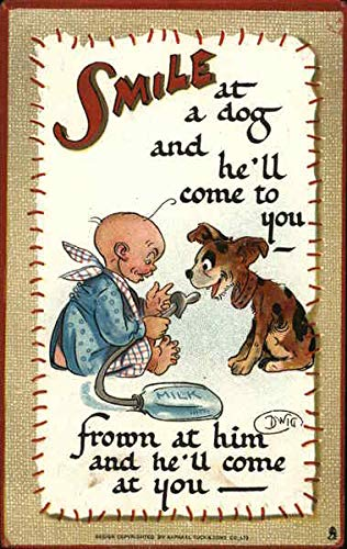 Vintage Advertising Postcard: Butter-Krust Bread - Smile at a dog and he'll come - Dwig Artist from CardCow Vintage Postcards