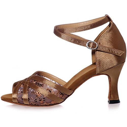 Sarahbridal Girls Cross Strap Glitter High Heel Satin Sandals With Sequins Peep Toe Evening Prom Latin Shoes For Women Size SZXF8349 Gold vrpcUgr
