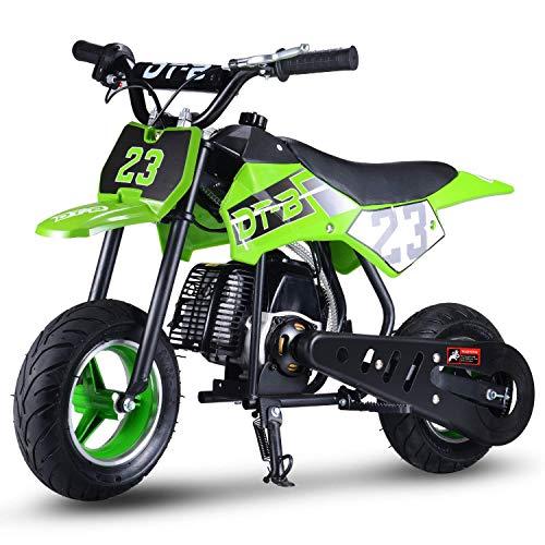 SAY YEAH 51cc 2-Stroke Gas Dirt Bike Kids Mini Scooter Off Road Racing Motorcoss Bike(EPA Registered, No CA Sales) (Green)