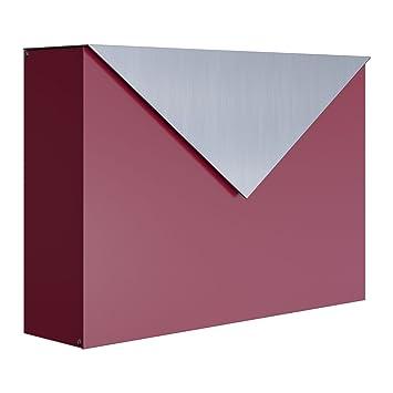 Bravios Briefkasten briefkasten design wandbriefkasten letter rot edelstahl bravios