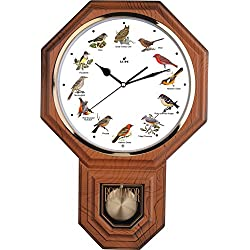 Unique 12 North America Bird's Song Schoolhouse Pendulum Wall Clock Chimes Every Hour Melody Made in Taiwan, 4AA Batteries Included (TCBD-PP0258-LW Light Wood Grain)