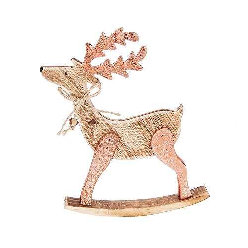 "Midwest CBK 6"" Natural Plywood Reindeer Rocking Horse with Rose Gold Accents"