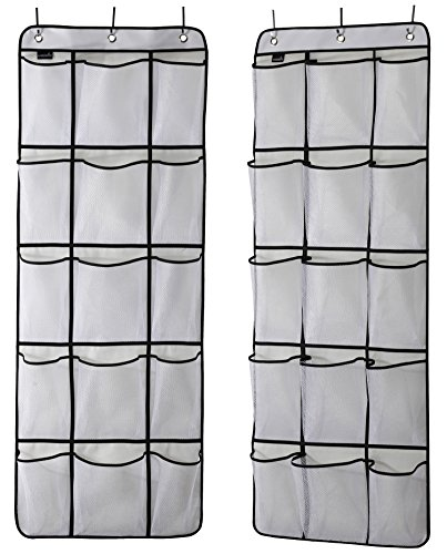 MISSLO Over The Door Hanging Pantry Closet Accessories Organizer 15 Mesh Pockets, 2 Pack