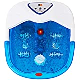 Giantex Foot Spa Heat Massage Bath with Temperature Control Infrared Bubbles of Anti-Splash Water Feet Warm Pedicure Rolling Rollers Home Foot Spa Massagers (Blue)