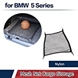 JCSPORTLINE 4 Hooks Car Trunk Cargo Net Mesh Storage Organizer - Car Accessories Net for BMW 3-Series 5-Series 6-Series 7 Series Mercedes Benz A-Class C-Class Audi Q3 Encore