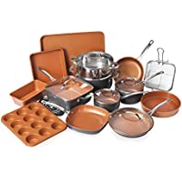 Gotham Steel 20-Piece All-in-One Kitchen Cookware and Bakeware Set with Nonstick Durable Ceramic Copper Coating