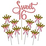 Shxstore Pink Monogram Sweet 16 Cake Topper Gold Crown Cupcake Picks For 16th Birthday Anniversary Party Decoration Supplies