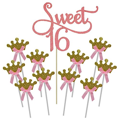 (Shxstore Pink Monogram Sweet 16 Cake Topper Gold Crown Cupcake Picks For 16th Birthday Anniversary Party Decoration)