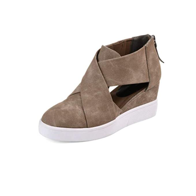 fde89bd009b97 Raylans Women's High Top Wedge Sneakers Cut Out Cross Strappy Back Zipper  Platform Booties