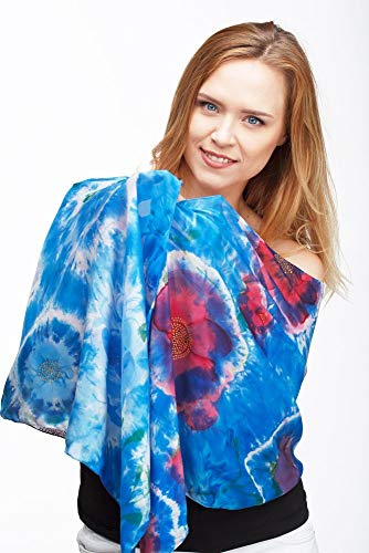 Hand painted Blue silk scarf for women, Shibori style womens shawl size 17x70 inch, one of a kind, gift for her