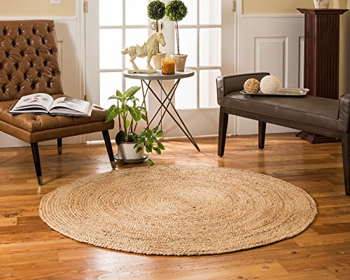 Country Braided Rugs (NaturalAreaRugs Elsinore Round Jute Rug, 100% Natural Jute, Hand Braided by Artisan Rug Maker, 5' Round, Non-Slip Rug Pad Included)