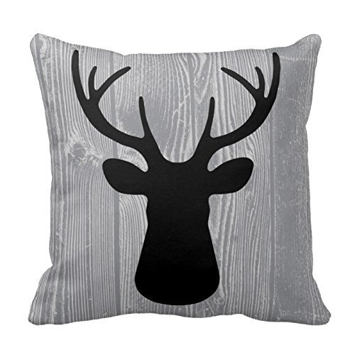 Decorative Throw Pillow Case Print Grey Wood Black Deer Pillow Cover 18 X 18 Inches(Satin Fabric, Pattern Print) (Deer Pillow Cover)