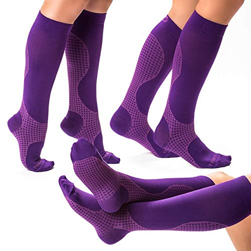 3 Pairs of Purple Compression Socks for Women & Men, Knee High Compression Stockings for Flight...