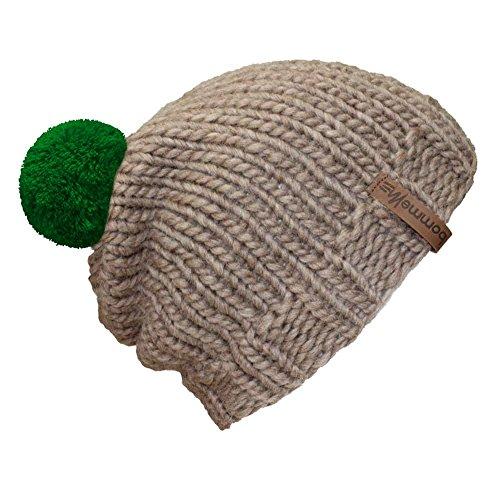 Mujer Para Bommelme Sand De Hat Gorro Green Pom Punto H4wTZxq