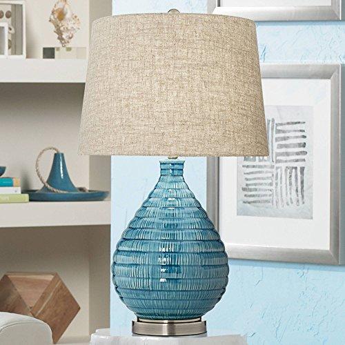 Blue Glaze Ceramic Table Lamp - Kayley Mid Century Modern Table Lamp Textured Ceramic Sky Blue Glaze Linen Fabric Tapered Drum Shade for Living Room Bedroom - 360 Lighting