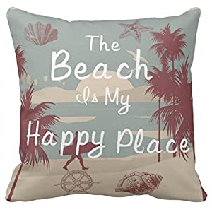 Kissenday 18X18 Inch The Beach Is My Happy Place Ocean Sea Funny Quote Fun Saying Cotton Polyester Decorative Home Decor Sofa Couch Desk Chair Bedroom Car Birthday Gift Square Throw Pillow Case