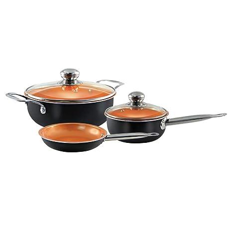 Juego de utensilios de cocina de 5 piezas - Juego de utensilios de cocina de inducción antiadherente Ollas y sartenes ...